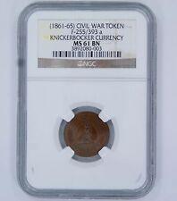 1861 - 1865 CIVIL WAR TOKEN F-255 / 393 A - MS 61 BN - NGC USA