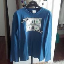 Maglia in cotone blu a maniche lunghe con stampa Dundop Kids tG 12 anni unisex