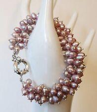"Mauve Pearls Bracelet 7.5"" Bargain Vintage Sundance Xo Cultured Lavender"
