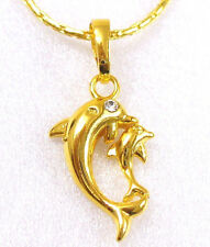 fashion1uk Dolphin Baby & Mother Necklace Pendant 24K Yellow Gold Plated