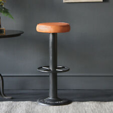 INDUSTRIAL BAR KITCHEN CAFE CONTRACT LEATHER METAL  BAR STOOL /   POLE STYLE