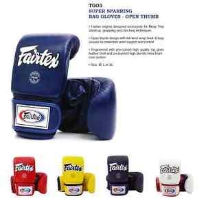 Fairtex Muay Thai boxing gloves TGO3 super sparring bag gloves - open thumb M L