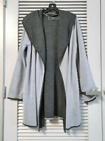 gray/ black hoodie wool long slev open cardigan 2XL w/ anthropologie earrings