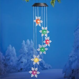 Solar Powered Lighted Color Changing Snowflake Christmas Yard Porch Dangler