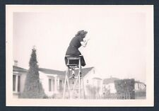 Spying on the Neighbors Woman on Ladder ODD Unusual Vtg Photograph 1940's-50's