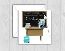 Personalised good luck secondary school card class room glitter