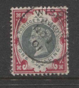 "G.B. -  1900 JUBILEE 1/- GREEN & CARMINE WITH FINE ""WISBECH"" CDS SG 214(REF.E12)"