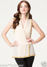 NWT bebe beige nude overall mesh sequin beaded wrap dress top tunic L large 8 10