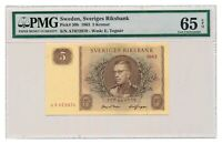 SWEDEN banknote 5 Kronor 1963 PMG MS 65 EPQ Gem Uncirculated grade