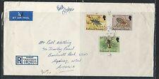 FALKLAND ISLANDS  (P0612B) 1984 INSECT 10P+20P+L1 REG A/M TO AUSTRALIA