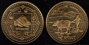 """NEW"" 2 Rupee NEPAL COIN Brass plated Farmer planting Buffalo/ Everest reverse"