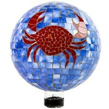 Gardener Select 17Bfg02 Gazing Globe, Mosaic Blue with Red Crab, 10 inches