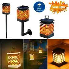 12 LED Solar Flickering Flame Lamp Waterproof Outdoor Garden Hanging Lantern