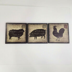 Farmhouse French Country Rooster Pig Sheep Plaque Wall Hanging Decor Set of 3
