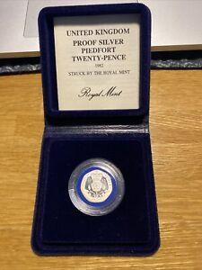 UK 1982 ROYAL MINT 20P TWENTY PENCE PIEDFORT SILVER PROOF - boxed/coa