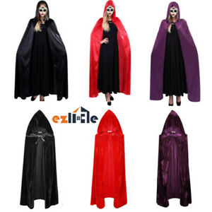 Unisex Hooded Cloak Halloween Costume Witch Adult Kid Hooded Cape Robe Medieval