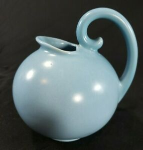 "Vintage Stangl 3211 Ball Pitcher MCM USA Pottery Blue Creamer 6"" Swirl Handle"