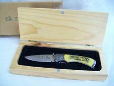 """7 3/4"""" Open Elk Ridge Bone Bear Design Folding Hunting Knife New in Wood Case"""