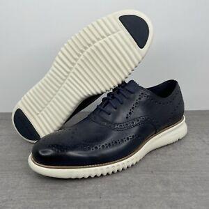 Cole Haan 2.ZEROGRAND Wingtip Leather Oxford Navy/Ivory C31536 Men's Size 9.5