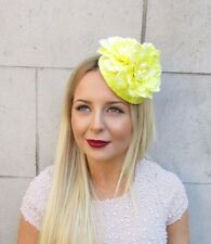 Yellow Statement Flower Fascinator Headpiece Vtg Hair Clip Races Hat 1950s 2557