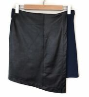 Viktoria & Woods Wool Leather Skirt Size 10 2 Black Navy Wrap Cross Over Womens