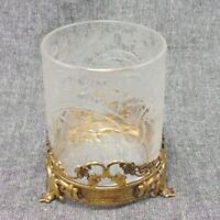 Hawkes Etched Crystal Bowl Cup Candle Holder - Signed Unusual Metal Base