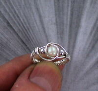 PEARL GEMSTONE RING  STERLING SILVER - SIZES 5 TO 15 WIRE WRAPPED BEAD RING
