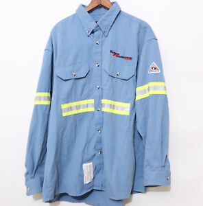 Men's Bulwark FR Flame Resistant Reflective Jacket Shirt XL X Large Blue Kenan