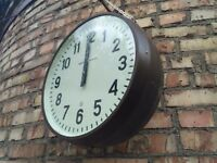 """Pendant Clock Double Sided Industrial Secondary """"STRELA"""" 80s USSR Vintage"""