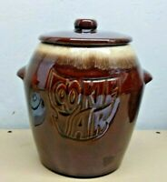 MCCOY USA BROWN GLAZED POTTERY CROCK COOKIE JAR