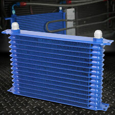 15-ROW 10AN POWDER-COATED ALUMINUM ENGINE/TRANSMISSION RACING OIL COOLER BLUE