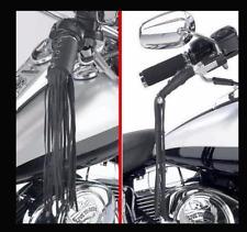 Franges en Cuir pour poignées et freins Couleur NOIR ( moto custom lacet laniere