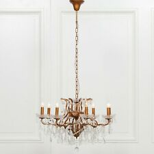 Stunning Shabby Chic Gold 8 Branch French Style Shallow Cut Glass Chandelier