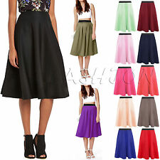 Women Flared Knee Length Skater Skirt Ladies Stretch Midi Office Work Skirt 8-22
