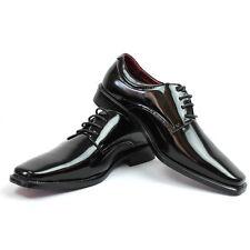 Black Mens Tuxedo Dress Formal  Plain Round Patent Leather Lace Up Oxfords Amali