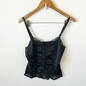 Vintage Black Lingerie Camisole Cami Top Lacey Nylon Small Y2K 90s Floral