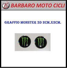 2 ADESIVI MONSTER ENERGY USA 3D 2 Cm. x 2 Cm. CARENE CUPOLINO MOTO CROSS STICKER