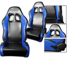NEW 1 PAIR BLUE & BLACK 2 TONE PVC LEATHER RACING SEATS FITS HONDA with LOGO