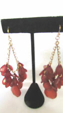 "EARRINGS CHANDELIER STYLE GOLD TONE RED STONE FRENCH WIRE 3 1/2""  NICKEL FREE"