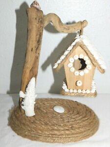 Driftwood Seashell Coral Hanging Birdhouse Jute Rope Decor Display New Handmade