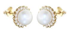 Pearls Stud Earrings Gold 585 Zirconia Elegant Earrings 14 CT