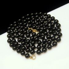 MONET Vintage Knotted Black Glass Beads 30 inch Long Necklace High Quality