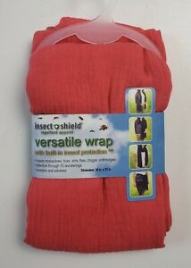 Insect Shield Repellent Womens Coral Crinkle Versatile Wrap Scarf - 36X70 - NEW