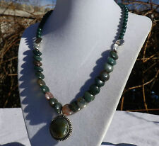 "18"" Handmade Indian Agate & Fossil Stone Necklace Indian Agate Pendant"