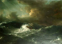 Dream-art Oil painting Sailboat capsized on the sea Shipwreck ocean waves storm