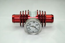 BANSHEE ENGINE SUPER COOLER INLINE TEMP GAUGE RADIATOR RED ANODIZED