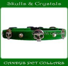 Handmade  Bright Green Velvet Crystals & Skulls Cat Kitten Collar with bell