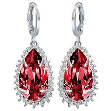 Women Fashion 925 Silver Waterdrop Cut Ruby Dangle Drop Earrings Wedding Jewelry