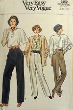 Vtg Vogue 9852 Misses Classic Tapered Pants FF Uncut Waist  25 - 28  Hip 33 - 36