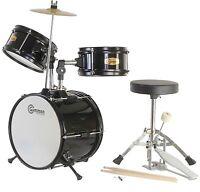 New Black Drum Set Junior Children's Complete Child Kids Kit with Stool & Sticks